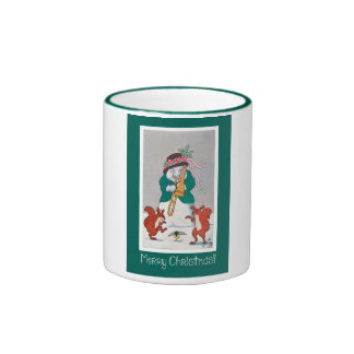 Musical Snowman and Squirrels - Merry Christmas Ringer Mug