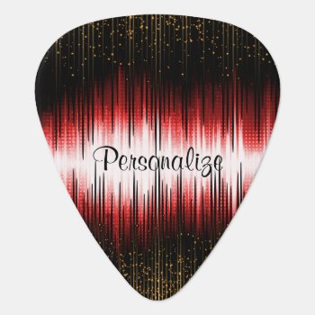 Musical Sound Wave Designs With Gold Specks Guitar Pick by DesignsbyDonnaSiggy at Zazzle