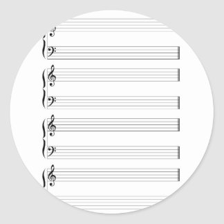 Musical Staff and Staves Classic Round Sticker