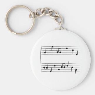 Musical Staff Basic Round Button Keychain