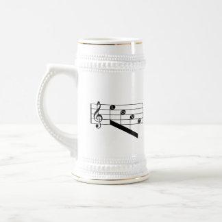 Musical Staff Treble Clef Love Notes Black Design 18 Oz Beer Stein