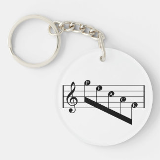 Musical Staff Treble Clef Peace Notes Black Design Single-Sided Round Acrylic Keychain