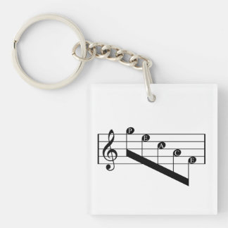 Musical Staff Treble Clef Peace Notes Black Design Single-Sided Square Acrylic Keychain