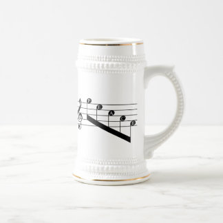 Musical Staff Treble Clef Peace Notes Black Design 18 Oz Beer Stein