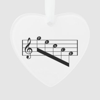 Musical Staff Treble Clef Peace Notes Black Design Ornament