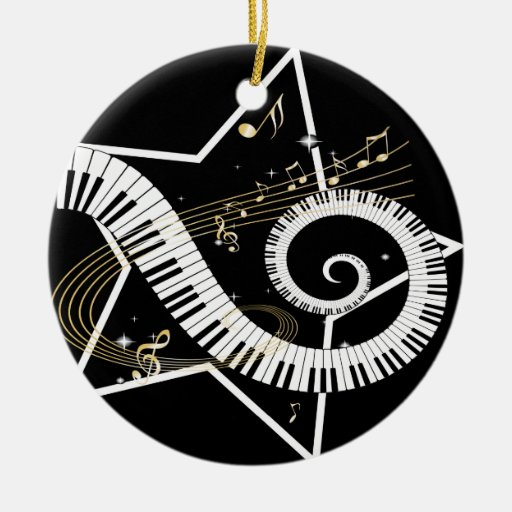Musical Star Golden Notes Double-Sided Ceramic Round