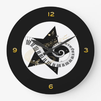 Musical Star Golden Notes Large Clock