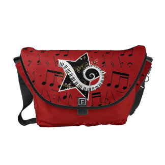Musical Star golden notes on Barn Red Courier Bag
