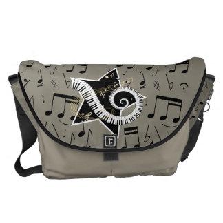 Musical Star golden notes on flannel color backgro Messenger Bag