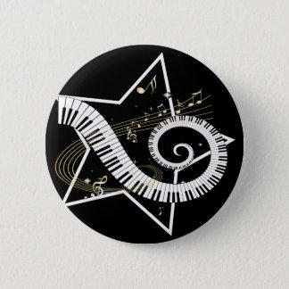 Musical Star golden notes Pinback Button
