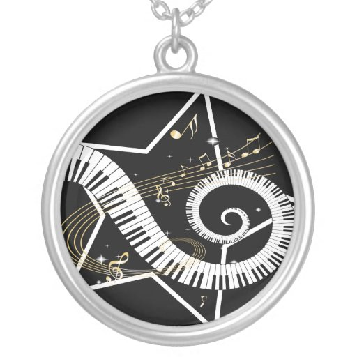 Musical Star golden notes Round Pendant Necklace