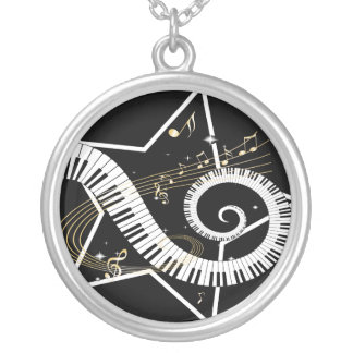 Musical Star golden notes Silver Plated Necklace