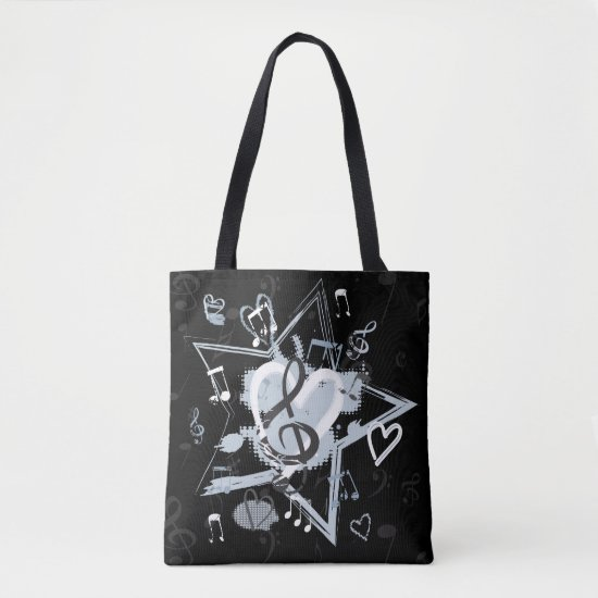 Musical Star Notes Designer Pattern Tote Bag