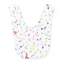 Musical Symbols in Rainbow Colors Baby Bib