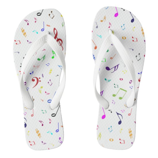 Musical Symbols in Rainbow Colors Flip Flops