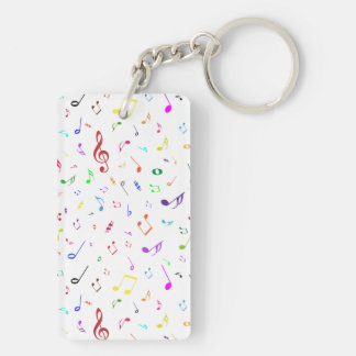 Musical Symbols in Rainbow Colors Keychain
