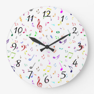 Musical Symbols in Rainbow Colors Large Clock