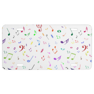 Musical Symbols in Rainbow Colors License Plate