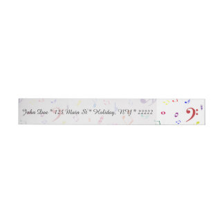 Musical Symbols in Rainbow Colors Wrap Around Address Label