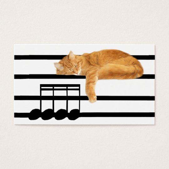 Musical tabby kitty cat business card