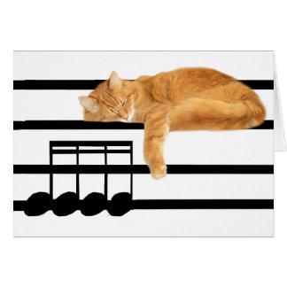 Musical tabby kitty cat greeting card