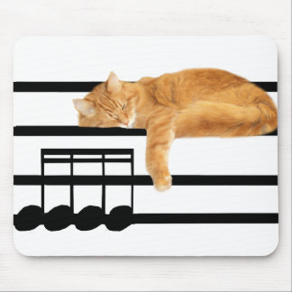 Musical tabby kitty cat mousepad