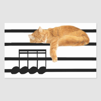 Musical tabby kitty cat rectangular sticker