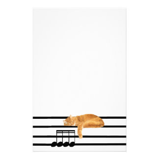 Musical tabby kitty cat stationery