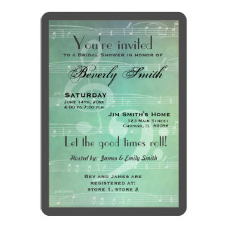 "Musical theme bridal shower 5"" x 7"" invitation card"
