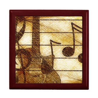 Musical Theme with Guitar Trinket Boxes