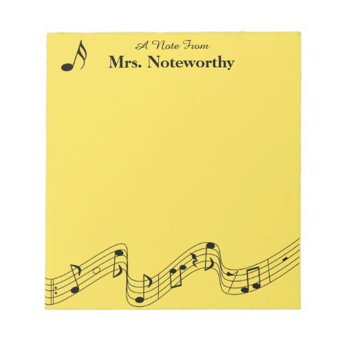 Musical Themed 40 Page Notepad Personalized