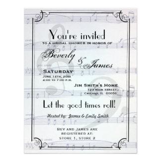 Musical themed bridal shower invitation