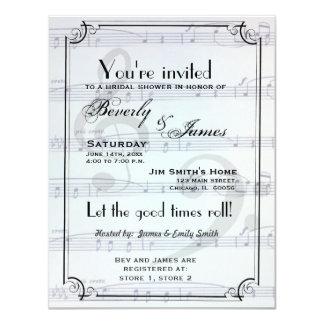 "Musical themed bridal shower invitation 4.25"" x 5.5"" invitation card"
