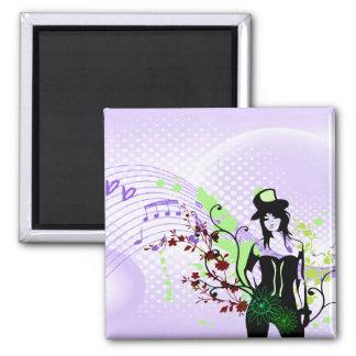Musical Top Hat Woman Set Magnet