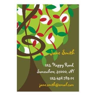 Musical Treble Cherry Notes Tree Whimsical Nature Business Card Template