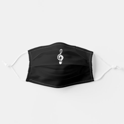 Musical Treble Clef Black and White Cloth Face Mask