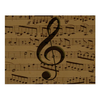 Musical Treble Clef sheet music Postcard