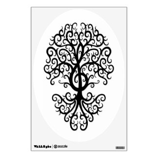 Musical Treble Clef Tree Black on White Wall Sticker