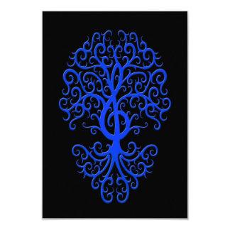 Musical Treble Clef Tree Blue on Black Card