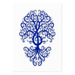 Musical Treble Clef Tree Blue on White Large Business Card