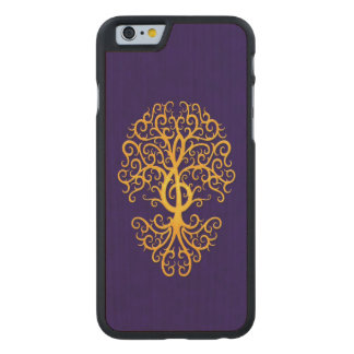 Musical Treble Clef Tree Blue on Yellow Carved® Maple iPhone 6 Case