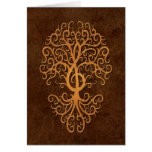 Musical Treble Clef Tree Brown Stone Card