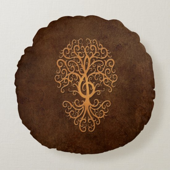 Musical Treble Clef Tree Brown Stone Round Pillow