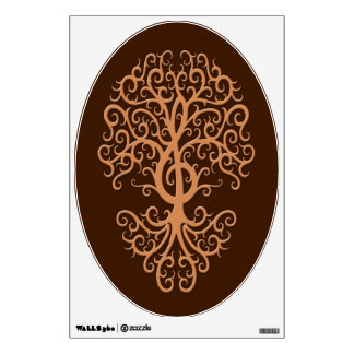 Musical Treble Clef Tree Brown Wall Stickers
