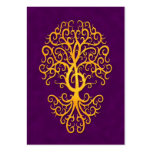 Musical Treble Clef Tree Golden Purple Large Business Card