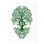 Musical Treble Clef Tree Green on White Large Business Card