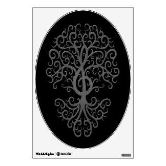 Musical Treble Clef Tree Grey on Black Wall Sticker