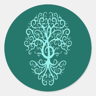 Musical Treble Clef Tree Teal Blue Round Sticker