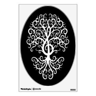 Musical Treble Clef Tree White on Black Wall Skins