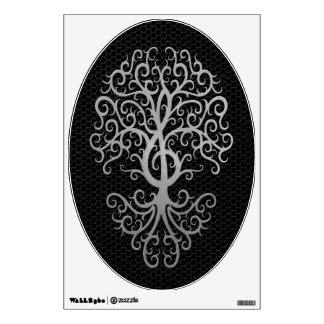 Musical Treble Clef Tree with Steel Mesh Effect Room Decal